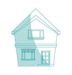 Blue shading silhouette cartoon facade irregular vector