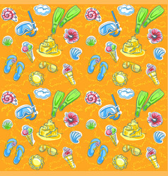 Bright seamless pattern with seashells vector