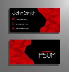 Business card polygon style - red and black vector
