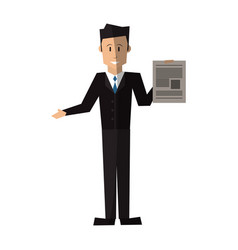 Businessman holding document icon image vector