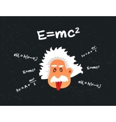 cartoon head of old mad scientist showing tongue vector image vector image
