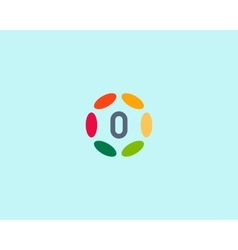 Color number 0 logo icon design hub frame vector
