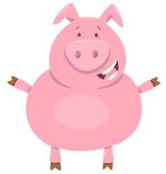 Cute pig farm animal character vector