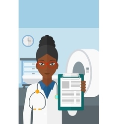 Doctor in hospital room with mri machine vector