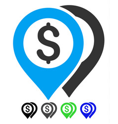 Dollar bank markers flat icon vector