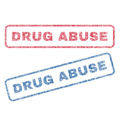Drug abuse textile stamps vector