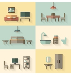 Furniture icon set for rooms of house vector image vector image