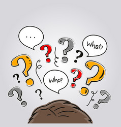 human head with a lot of questions vector image