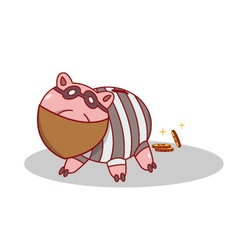 Isolated cartoon piggy bang burglar stealing money vector image