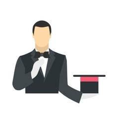 Magician in a black suit holding an empty top hat vector image vector image