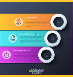 Modern infographic design template with 3 vector