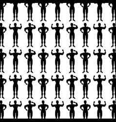 monochrome background pattern with man bodybuilder vector image