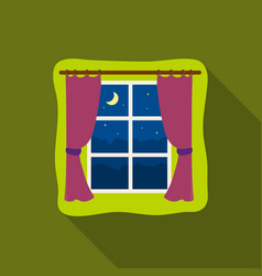 Night out the window icon in flate style isolated vector