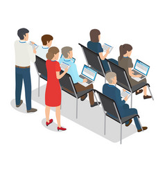 People with laptop and tablet on business coaching vector