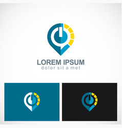 power buton technology logo vector image