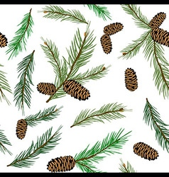 Seamless pattern with pinecone branch pine cone vector