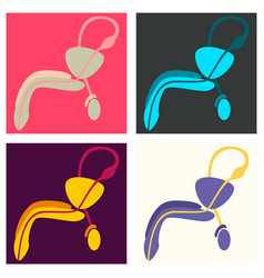 Set of human organ icon in flat style male vector