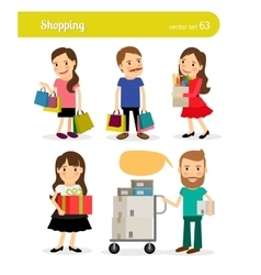 Shopping people with basket and cart vector image vector image