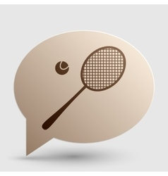Tennis racquet sign brown gradient icon on bubble vector
