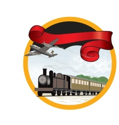 travel by train and plane vector image vector image