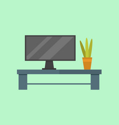 Tv room table flat isolated vector