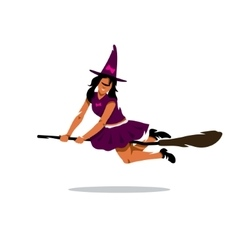 Witch on broomstick cartoon vector