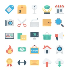Shopping and e commerce colored icons 2 vector