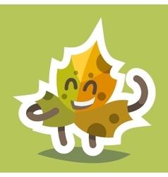 Emoticon icon friendly maple leaf vector