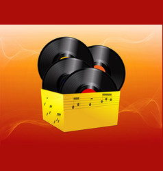 Vinyl records in a yellow box vector