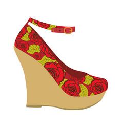 colorful silhouette of high heel platform shoe vector image