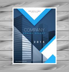 Modern blue brochure flyer design with geometric vector