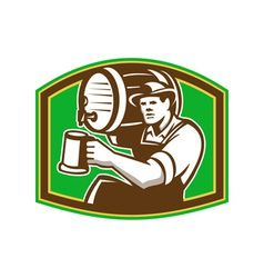 Barman bartender pour beer barrel retro vector