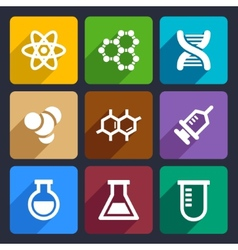 Chemical flat icons set 50 vector