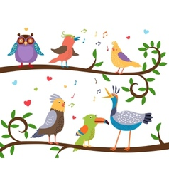 Singing birds on tree branches vector