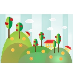 Landscape with hills trees and houses vector