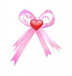Pink bow and red heart vector