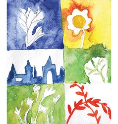 Watercolor abstract nature cards vector