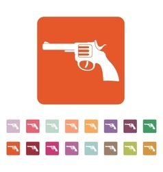 The revolver icon gun and weapon symbol flat vector