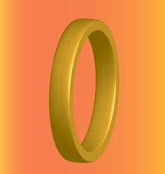 Three-dimensional gold ring on an orange vector