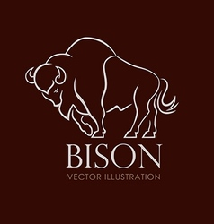 Line sing logo emblem bison on brown background vector