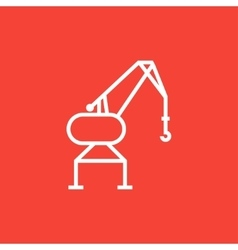 Harbor crane line icon vector