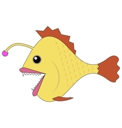 Monkfish deep-water fish cartoon vector