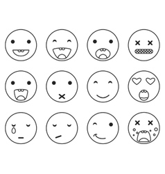 Outline round smile emoji set emoticon icon vector