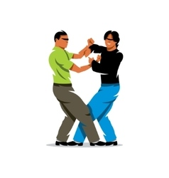 Wing chun kung fu sparring cartoon vector