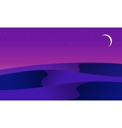 At night desert landscape of silhouette vector