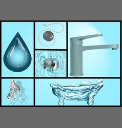 Bath and water set vector