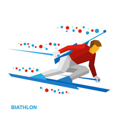 biathlon player going skiing fast with a rifle vector image vector image