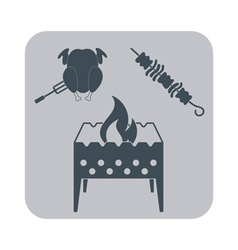 Brazier chicken and kebab icon vector