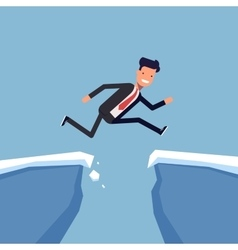Businessman or manager jumping over a precipice vector image