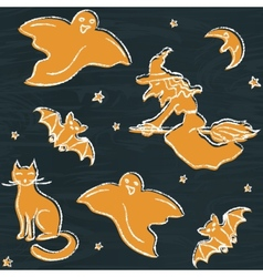 Chalkboard Halloween silhouettes pattern vector image vector image